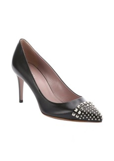 Gucci black leather studded mid-heel pumps