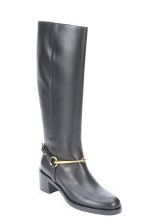 Gucci black leather 'Tess' knee-high slip-on riding boots