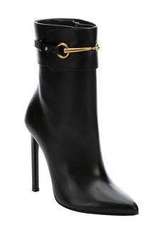 Gucci black leather 'Ursula' horsebit booties