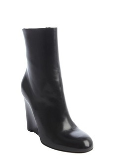 Gucci black leather wedge boots
