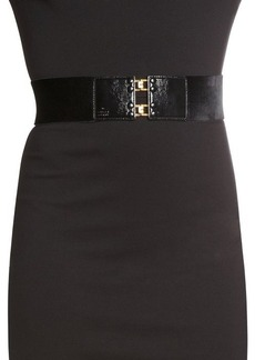 Gucci black patent leather and velvet wide belt