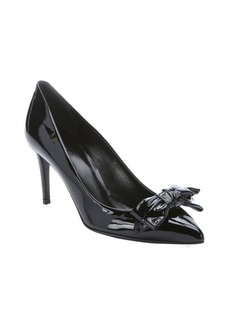 Gucci black patent leather bow detail pumps