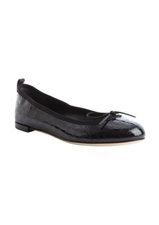 Gucci black patent leather guccissima bow tie detail ballet flats