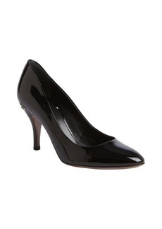 Gucci black patent leather horsebit pumps