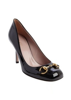 Gucci black patent leather 'Jolene' horsebit accent pumps
