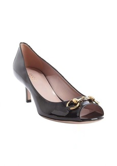 Gucci black patent leather 'Jolene' horsebit peep toe pumps