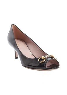 Gucci black patent leather 'Jolene' horsebit peep toe pumps