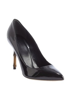 Gucci black patent leather 'Kristen' bamboo heel pumps