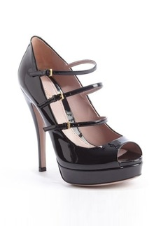 Gucci black patent leather multi-strapped platform pumps