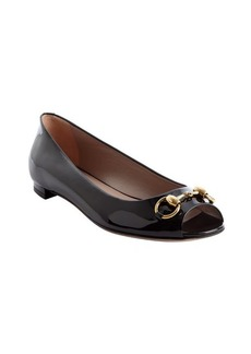 Gucci black patent leather peep toe flats