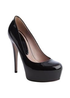 Gucci black patent leather platform pumps