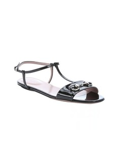 Gucci black patent leather t-strap horsebit detail sandals