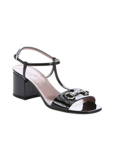 Gucci black patent leather t-strap sandals