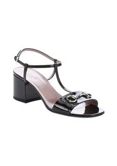 Gucci black patent leather t-strap sandals