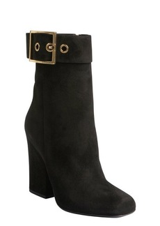 Gucci black suede buckle detail cuban heel ankle boots