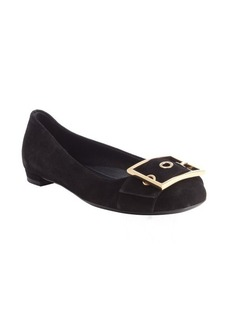 Gucci black suede buckle detail flats