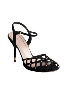 Gucci black suede caged peep-toe ankle strap sandal