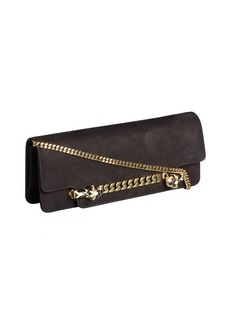 Gucci black suede convertible chain handle clutch