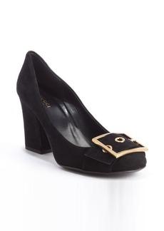 Gucci black suede embellished buckle detail pumps