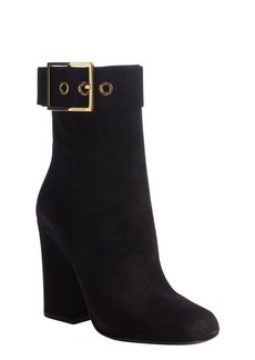 Gucci black suede gold buckle detail heel boots