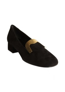 Gucci black suede goldtone tongue plate heel loafers
