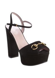 Gucci black suede horsebit buckle detail peep toe platform sandals
