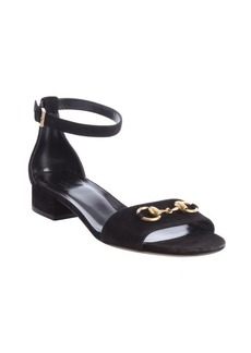 Gucci black suede horsebit detail anklestrap sandals