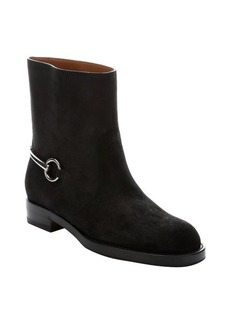 Gucci black suede horsebit mid ankle boots