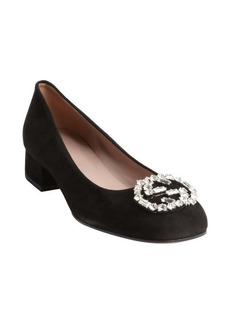 Gucci black suede jewel logo pumps
