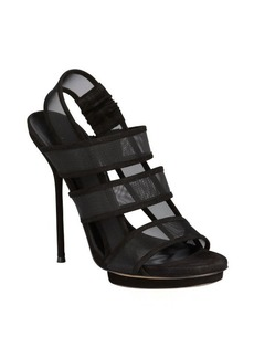 Gucci black suede mesh 'Bette' platform sandals