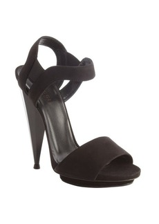 Gucci black suede open toe multi side heel sandals