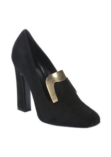 Gucci black suede plate detail heeled loafers