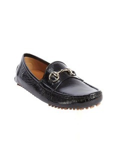 Gucci black textured patent leather moc toe horsebit strap loafers