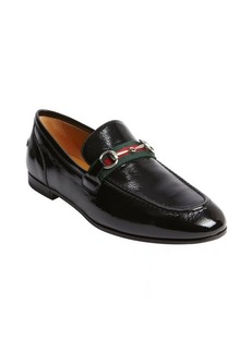 Gucci black textured patent leather signature buckle penny strap loafer