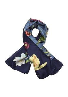 Gucci blue and green 'Flora Infinity' printed silk scarf
