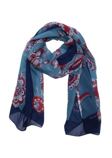 Gucci blue and red multi-color silk floral pattern printed scarf