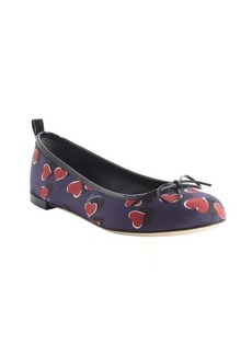 Gucci blue and red nylon heart print bow tie detail flats