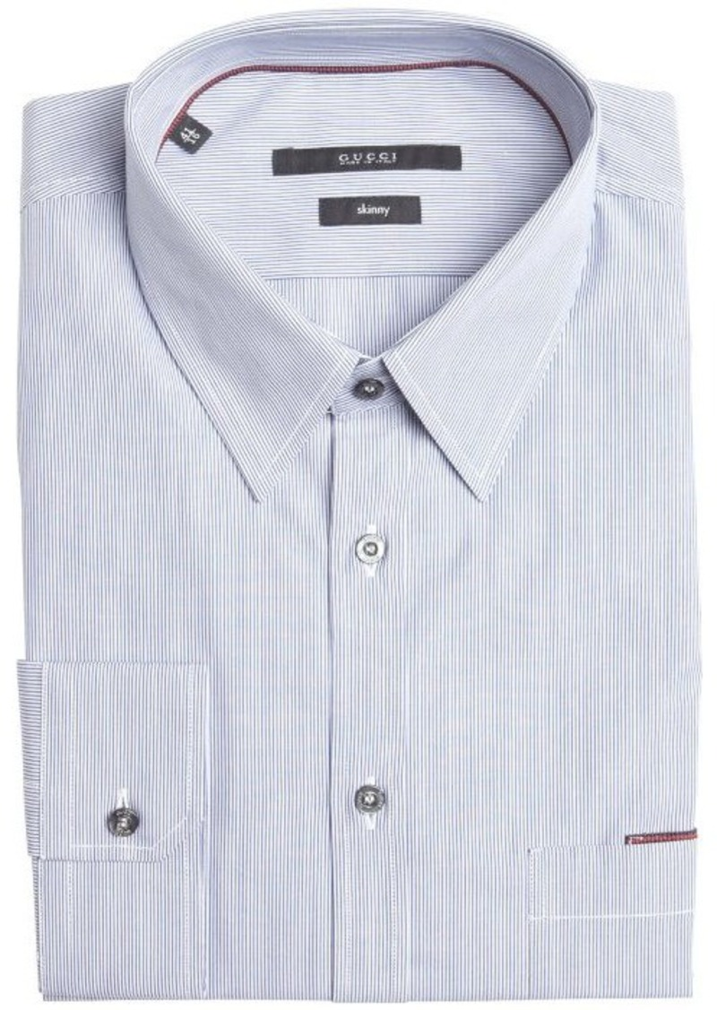 Gucci gucci blue and white striped cotton point collar for Blue and white striped shirt with white collar