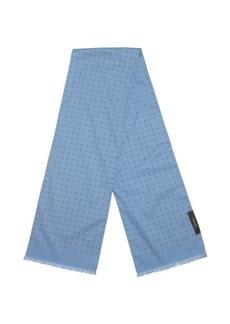 Gucci blue cotton emblem printed cotton scarf
