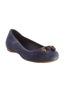 Gucci blue guccissima bow tie detail ballet flats