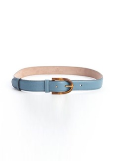 Gucci blue leather bamboo buckle belt