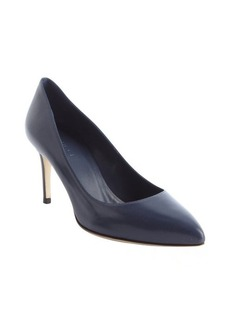 Gucci blue leather pointed toe pumps