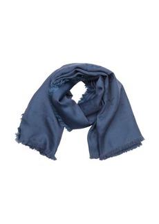 Gucci blue silk and wool blend gg logo fringe detail scarf