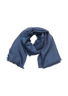 Gucci blue silk and wool blend gg logo fringe detail scarf