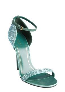 Gucci blue suede crystal embellished open toe sandals