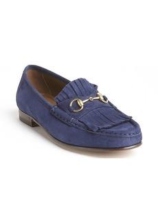 Gucci blue suede tassel detail slip on loafers