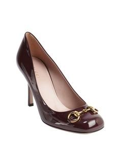 Gucci bordeaux leather 'Jolene' horsebit accent pumps
