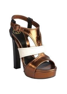 Gucci bronze colorblock leather 'Andie' platform sandals