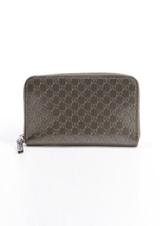 Gucci bronze guccisimma patent leather zip continental wallet