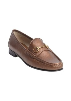 Gucci bronze leather horse bit penny strap loafers